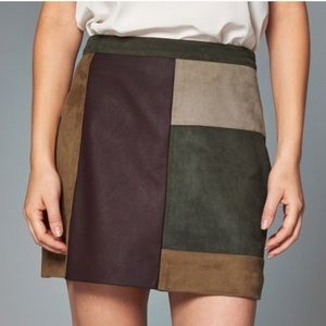 Abercrombie & Fitch Patchwork Suede Skirt Size 0
